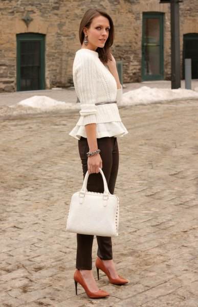 white short belted ribbed sweater over peplum blouse