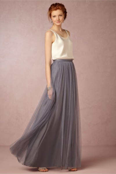 white silk vest top with grey long tulle skirt