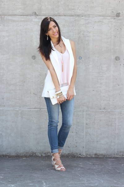 white sleeveless blazer jacket with vest top