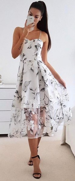 white spaghetti strap sweetheart flared long summer dress