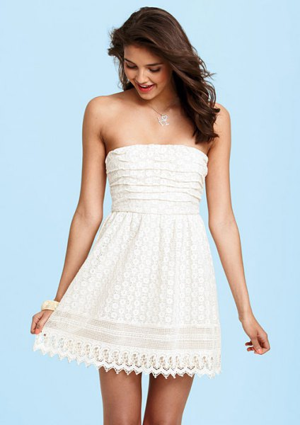 white strapless fit and flare mini lace scalloped hem dress