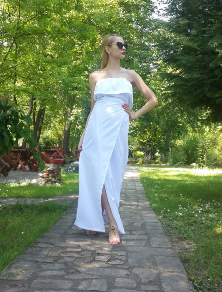 white strapless folded shoulder maxi cotton dress
