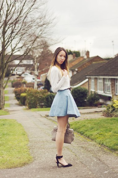 white sweater with light blue high waisted mini circle skirt