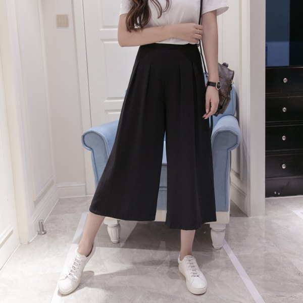 white t shirt with black suspender elastic waist wide leg cropped pants