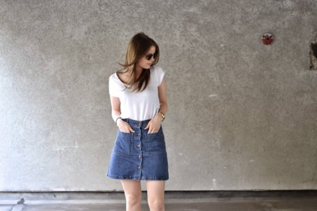 white t shirt with blue denim button down mini skirt