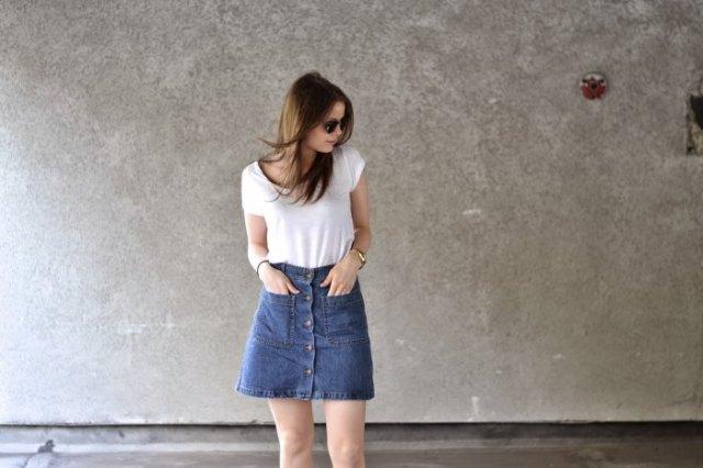 white t shirt with blue denim button down mini skirt