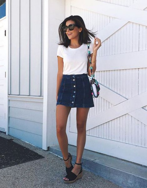white t shirt with mini skater denim button front skirt