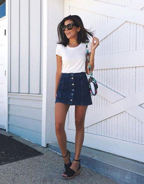 white t shirt with mini skater denim button front skirt