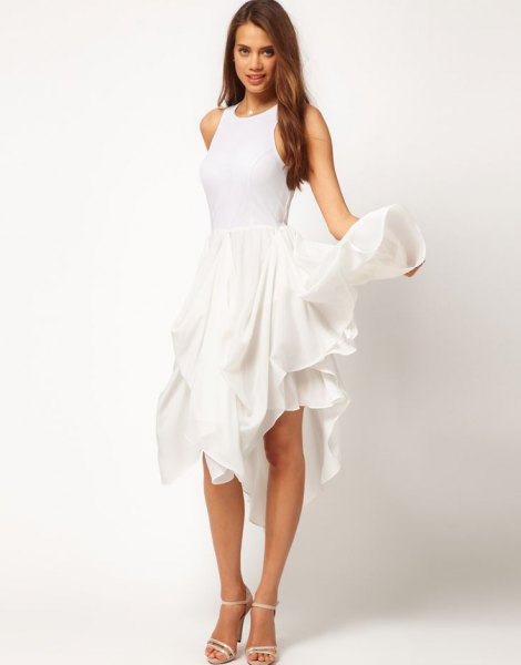 white tank ruffle long dress with open toe heels