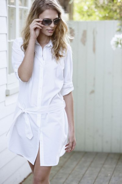 white tie waist shirt dress with nude sandals