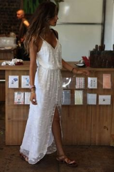white v neck gathered waist high split lace summer dress
