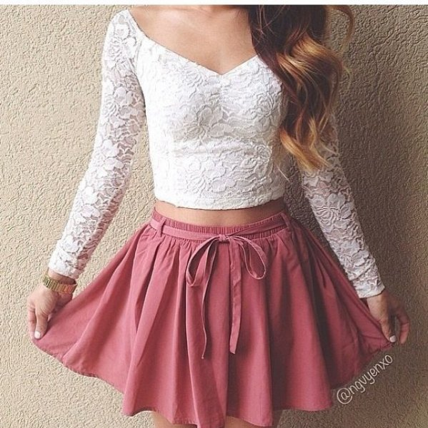white v neck lace long sleeve crop top with pink skater skirt