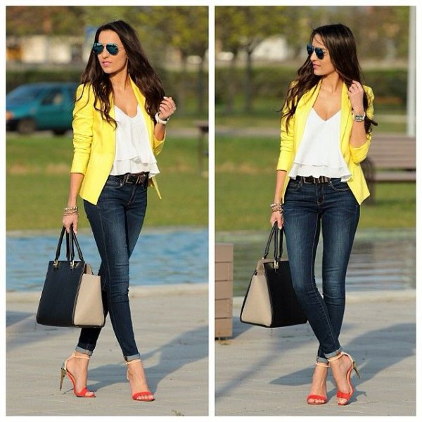 white v neck ruffle top with yellow jacket