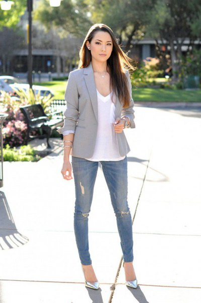 white v neck tee with grey blazer