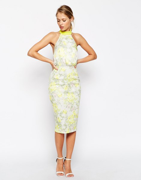 yellow floral halter midi sheath sundress