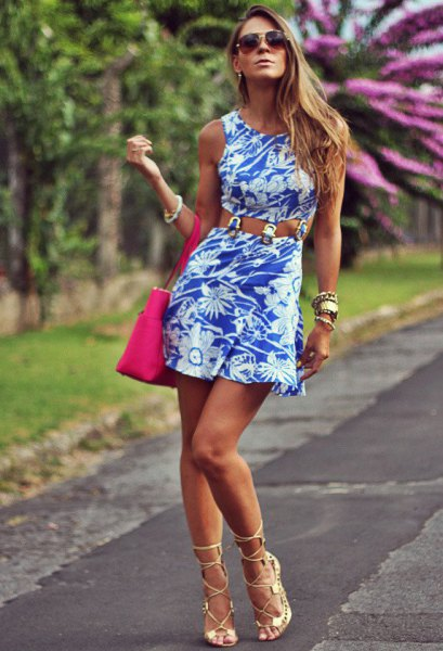 belted floral printed tank dress with pink open toe heels