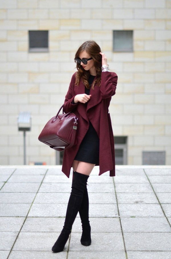 best burgundy coat outfit ideas for women