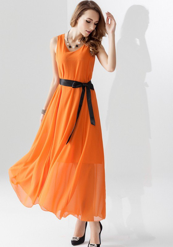 181e49b535c How to Wear Orange Maxi Dress  15 Cheerful   Attractive Outfits ...