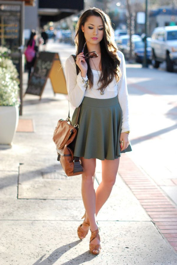 ba587bcc58885d How to Wear Grey Skirt: 15 Low Profile & Beautiful Outfit Ideas ...