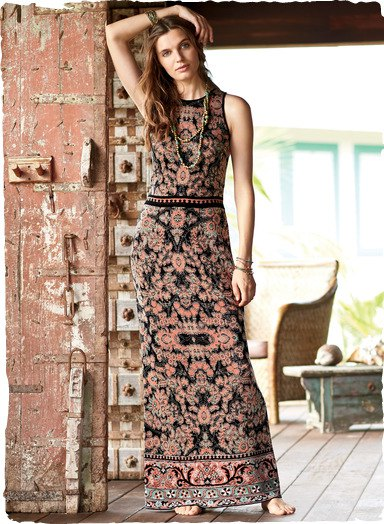 black and pink tribal printed sheath maxi dress