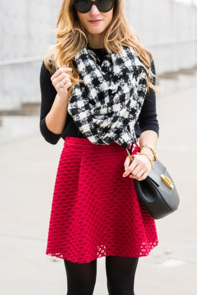 black and white checkered scarf with red semi sheer skater skirt