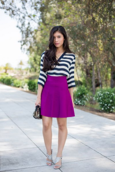 black and white horizontal striped top with purple skater skirt