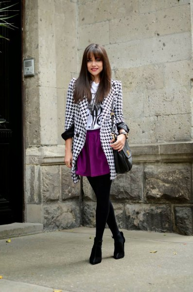 black and white patterned tweed blazer with mini skirt and leggings