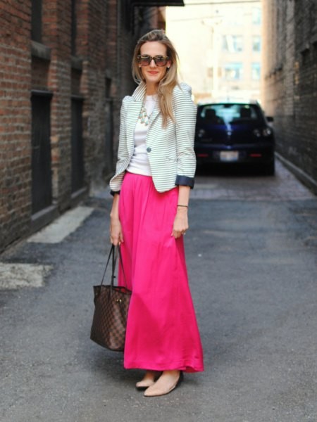 black and white striped blazer with hot pink flared maxi dress