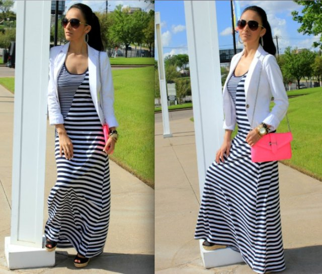 black and white striped maxi cotton dress with blazer