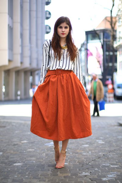 How To Style Orange Skirt 15 Colorful Amp Creative Outfit