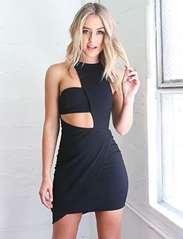 black asymmetric cut out mini bodycon dress