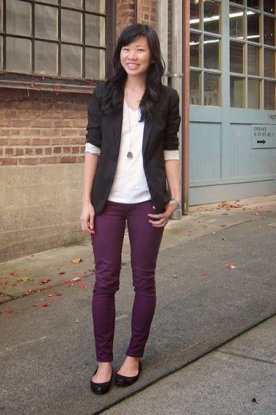 black blazer with purple skinny jeans and ballet flats