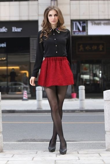 black button up shirt with red mini skater skirt