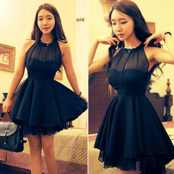 black halter neck mini semi sheer tutu dress