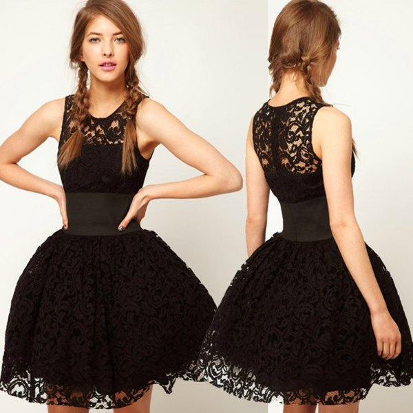 black lace fit and flare mini tutu dress