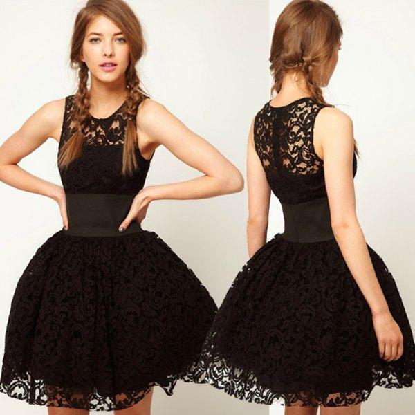 black lace fit and flare mini tutu dress
