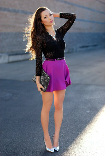 black lace form fitting top with mini chiffon skirt