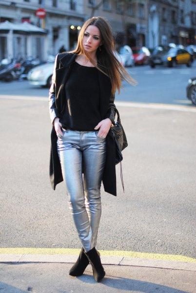 black longline blazer with silver metallic jeans