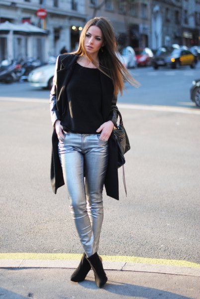 black longline blazer with silver metallic jeans