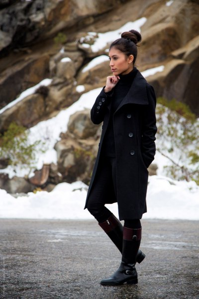 black longline wool coat with mini shift dress and knee high boots