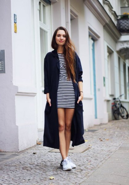 black maxi cardigan with striped mini shift dress