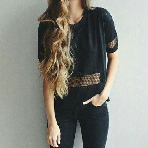black mesh semi sheer t shirt with skinny jeans