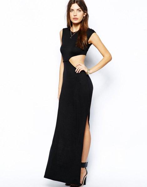 black sleeveless asymmetric cut out side maxi high split dress