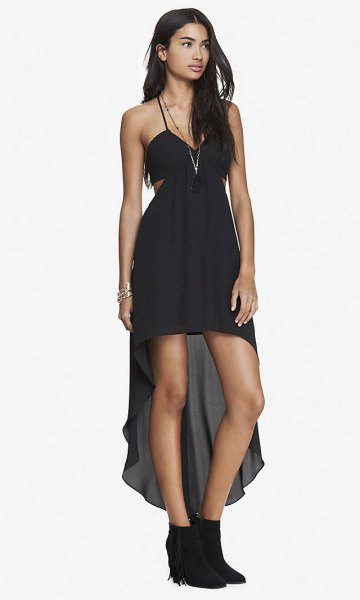 black spaghetti strap high low dress with boots