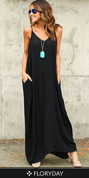 black spaghetti strap maxi shift cotton dress