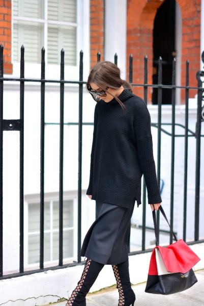 black turtleneck chunky sweater with grey midi skirt and boots