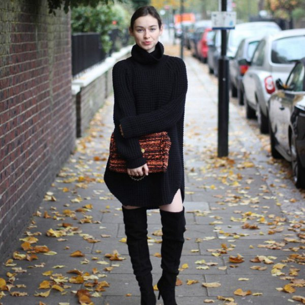 black turtleneck sweater dress with thigh high suede heeled boots