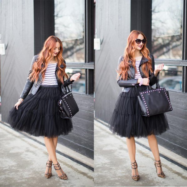 black tutu midi dress with striped tee and leather jacket