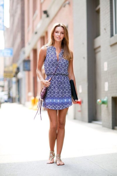blue and white tribal printed v neck gathered waist mini dress