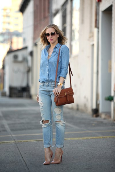 blue button up shirt with ripped boyfriend jeans